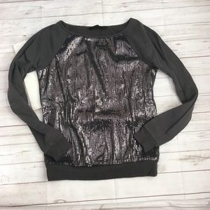the limited womens xs grey sequin front sweatshirt